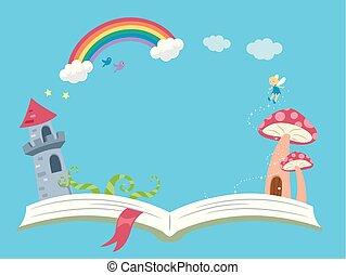 講故事, 幻想, 書, 背景, 插圖