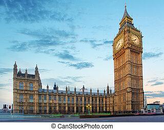 議會, ben, 晚上, 大, 房子, 英國, 倫敦