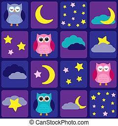 貓頭鷹, 天空, 夜晚