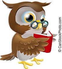 貓頭鷹, 閱讀, 卡通, 書