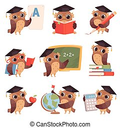 貓頭鷹, school., 彙整, 寫, 貓頭鷹, 字符, 教學, 卡通, 閱讀, 鳥, 老師