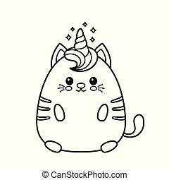 貓, 愉快, 獨角獸, 漂亮, 微笑