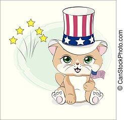 貓, 美國, 天, 獨立, 愉快