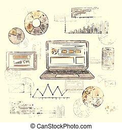 財政, 聰明, 紙, 片劑, 圖表, 老, 葡萄酒, 背景, 圖表, 膝上型, 電話, retro, grunge, 略述, 圖形