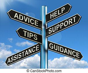 資訊, 幫助, 路標, 建議, 支持, 打翻, 指導, 顯示