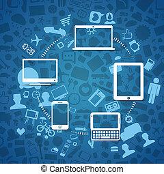 資訊, 現代, 無線, 小器具, fransfer, 橫跨
