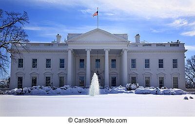 賓夕法尼亞, 房子, 以後, 華盛頓, 雪, dc, 旗, 泉水, ave, 白色