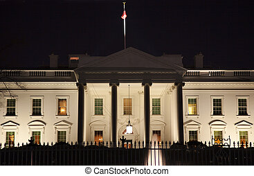 賓夕法尼亞, 房子, 華盛頓特區, 夜晚, ave, 白色