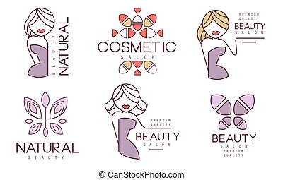 質量, 自然, 插圖, 美麗, 標籤, 徽章, 矢量, 有机, 化妝品, 保險費, 沙龍, 化妝品, 集合