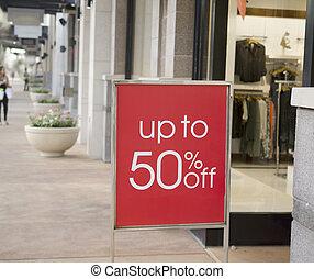購物中心, 出售 簽署, 外面, 零售店