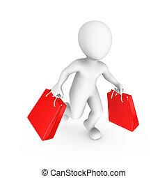 購物, 人們。, 銷售, 小, concept., 3d