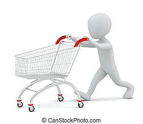 購物, 人們, -, cart., 小, 3d