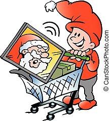購物, 小精靈, 插圖, 矢量, 卡通, 愉快