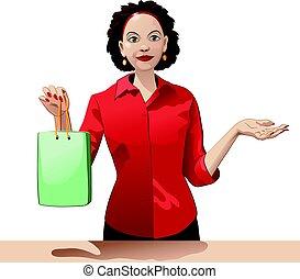 購物, 職員, 銷售, 袋子, 提供, 產品, 藏品, 微笑的 女孩