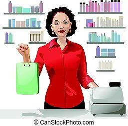 購物, 藏品, 女孩, 陳列櫃, 在上方, 銷售, 袋子, 提供, 產品, 背景, 微笑, 職員