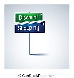 購物, 路, 折扣, 方向, 徵候。