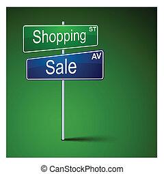 購物, 路, 銷售, 方向, 徵候。