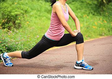 賽跑的人, 腿, 婦女伸展