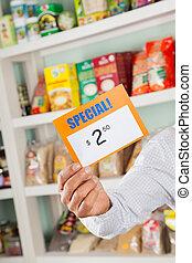 超級市場, 簽署, 折扣, 藏品, 所有者, 男性