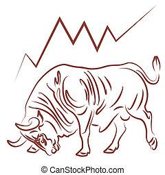 趨勢, 證券市場, bullish, 公牛