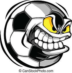 足球, 矢量, 卡通, 球, 臉