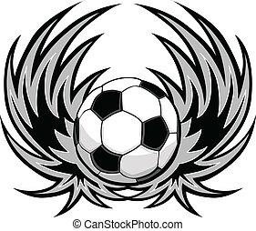 足球, 翅膀, 樣板