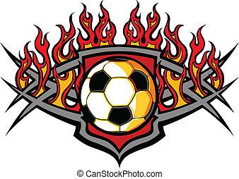 足球, ve, 火焰, 樣板