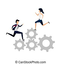跑, 夫婦, 齒輪, 事務