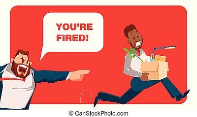 跑, 憤怒, 開除, 工人, 老板, 坏, 雇員, 惊嚇