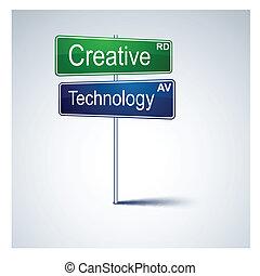 路, 創造性, 方向, 徵候。, 技術