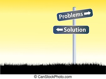 路, 問題, 解決方案, 插圖, 簽署