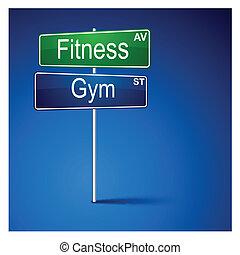 路, 方向, 健身, 體操, 徵候。