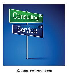 路, 服務, 方向, 徵候。, 咨詢