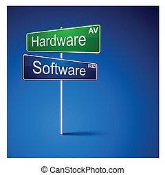 路, 軟件, 方向, 徵候。, 硬件
