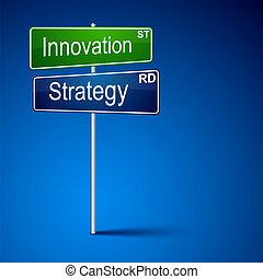 路, 革新, 戰略, 方向, 徵候。