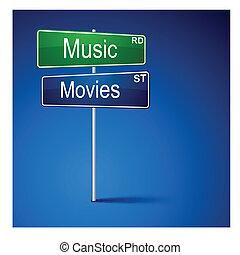 路, 音樂, 電影, 方向, 徵候。