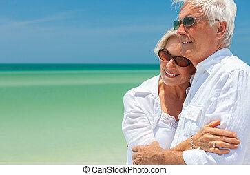 跳舞, 夫婦, 熱帶, 擁抱, 年長者, 海灘, 愉快