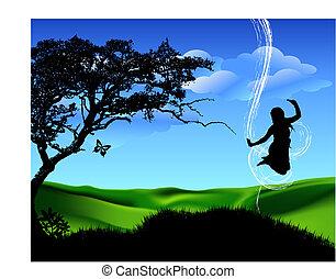 跳躍, 女孩