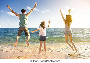 跳躍, 海灘, 家庭, 愉快
