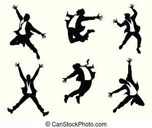 跳躍, 黑色半面畫像, 人