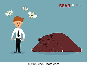 踩, 股票, market., 熊
