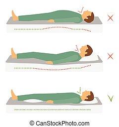 身體, 位置, 健康, 正確, 睡覺