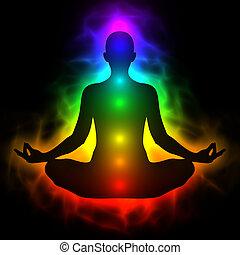 身體, 能量, 人類, chakra, 氛圍, 沉思