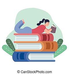 躺, 書, 書, 閱讀, 讀者, 下來, 婦女, 堆, 葉子