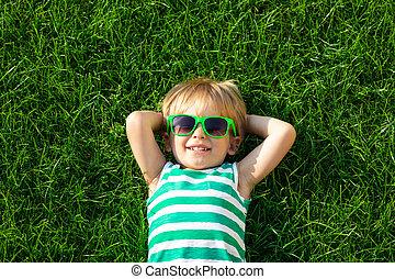 躺, 綠色, 春天, 愉快, 草, 孩子