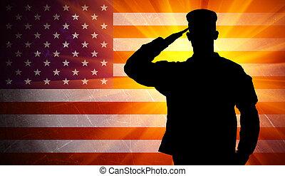 軍隊, 驕傲, 美國人, 士兵, 旗, 背景, 敬禮, 男性