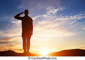 軍隊, salute., 黑色半面畫像, sky., 士兵, 傍晚, military.
