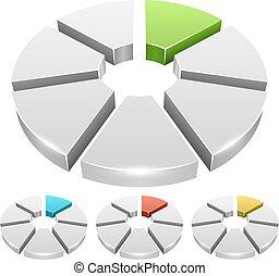 輪子, 圖象, 顏色圖表, 被隔离, 背景。, 矢量, 白色, 段, 3d