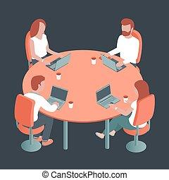 輪, 筆記本電腦, 人們坐, 年輕, 桌子, 辦公室。