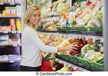 辣椒, 微笑的婦女, 購買, 超級市場